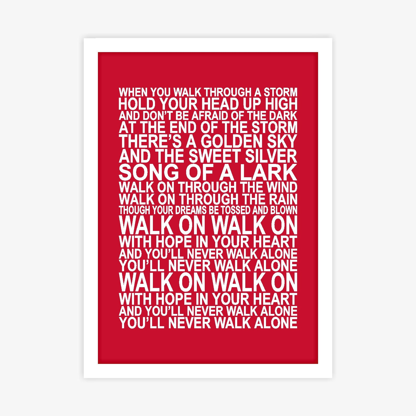 Liverpool FC You\'ll Never Walk Alone Song Lyrics Poster   Etsy