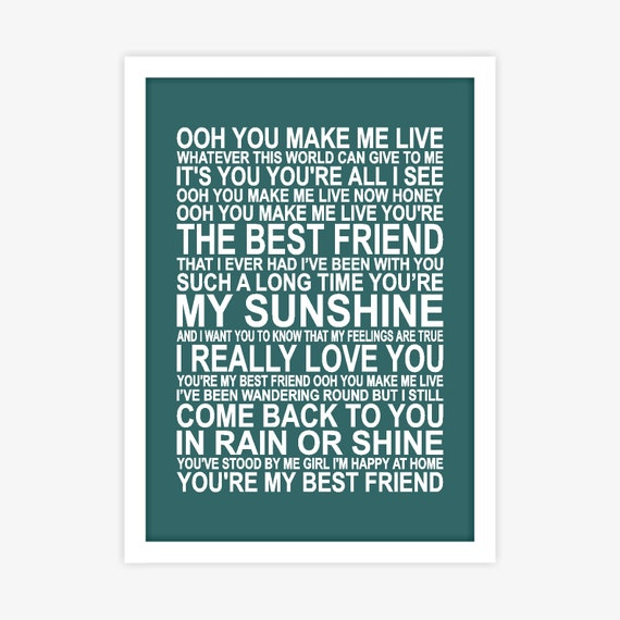 Queen Youre My Best Friend Song Lyrics Poster Wall Art Etsy