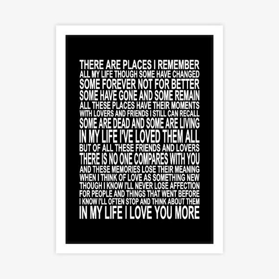 The Beatles In My Life Song Lyrics Poster Wall Art Decor Etsy