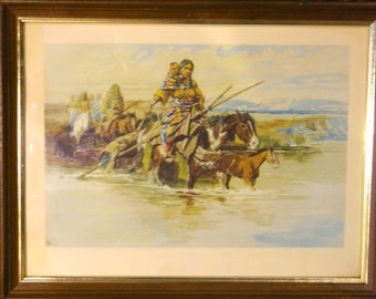 C M Russell Native American Print. not one usually seen Framed