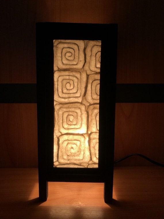 Oriental carré papier lampe abat-jour chevet Table lumière ...
