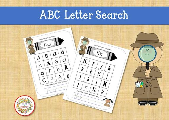Alphabet Practice Worksheets ABC Worksheets Kindergarten Etsy