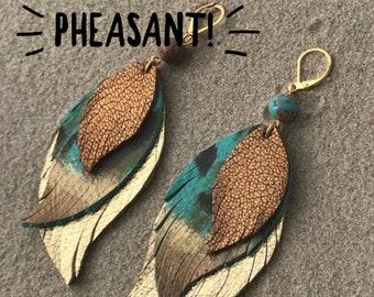 Feather flare earringsboho earringsleather earrings