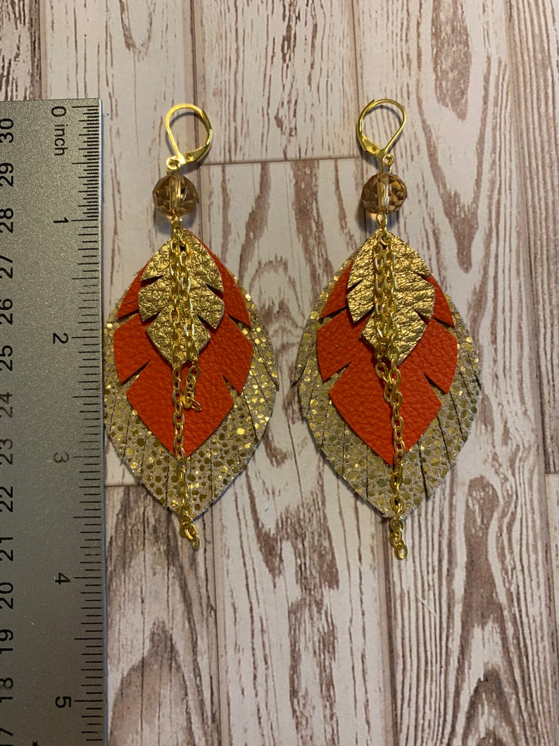 sparkle gold real leather Real leather Creative Ahoy metal chain bold orange leather hand cut Orange earrings