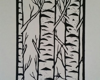 Stand of Birch Trees, edition 4 of 25 Hand-cut Lino Print on A3 size 285gsm watercolour paper. Designed, cut and printed by Wendy Steinberg