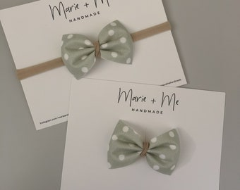 Cotton Georgia Bow with Suede Center on Nylon Headband or Clip