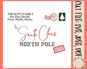 photograph regarding Free Printable Santa Envelopes North Pole identify Santa envelope signal Etsy