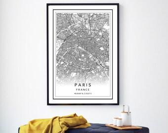 047c856a Paris Map Print, Paris City Map, Paris Map Poster, Custom City Map, Map Of  Paris, Black & White Map, Paris Digital Map Print, Paris Wall Art