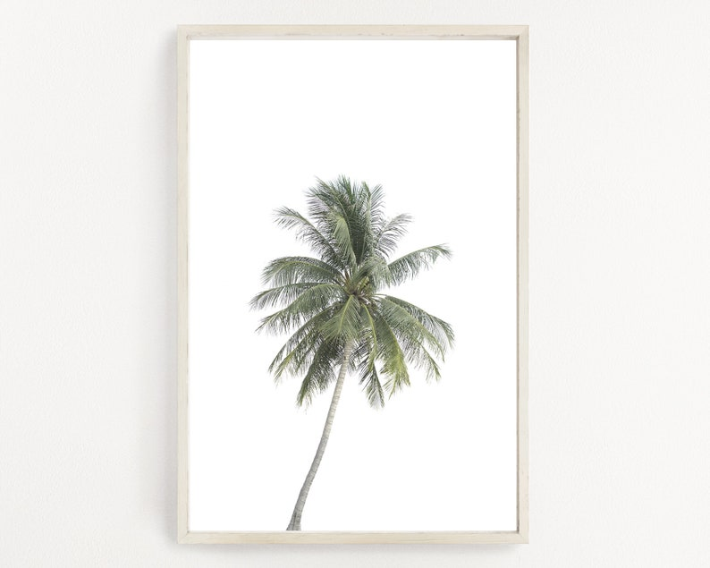 image about Palm Leaf Printable titled Palm Tree Artwork Print, Tropical Poster, Palm Tree Printable, California Print, Palm Tree Poster, Coastal Artwork Print, Palm Leaf Wall Artwork