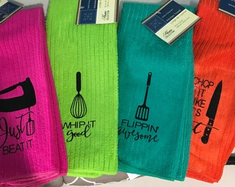 Set of 4 kitchen music decorative towels