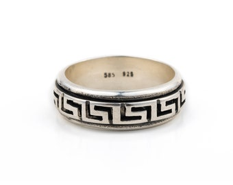 49ac6dddf greek key meander band ring in sterling silver greek key ring meander ring  greek key jewelry greek ring ancient greek jewelry