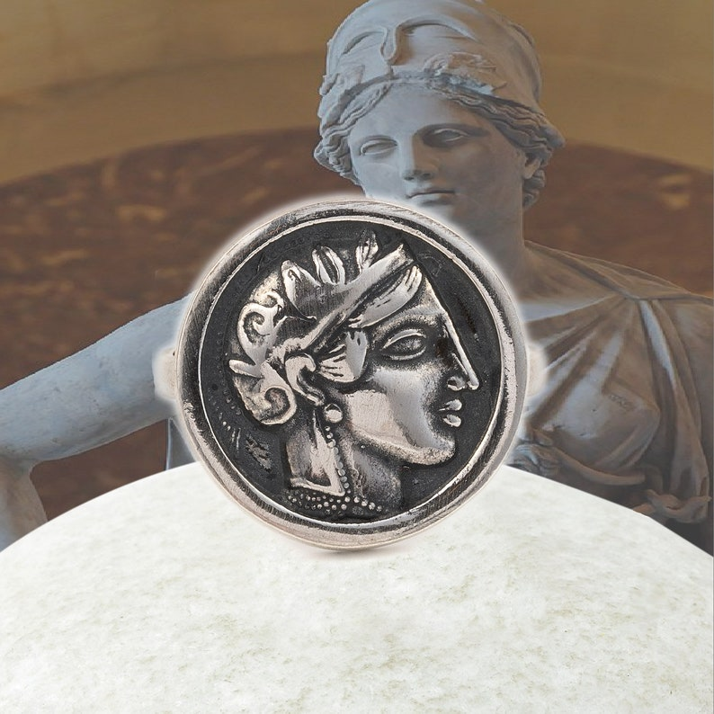 Antique coin ring Antique ring Greek jewelry Dainty ring Coin ring Greek ring Athena coin silver ring Ancient greek coin Athena ring