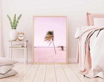 Beach Print, Pastel Pink Print, Pink Wall Art, Palm Tree Print, Pink Print, Tropical Wall Art, Pink Photo, Pastel Pink Photo