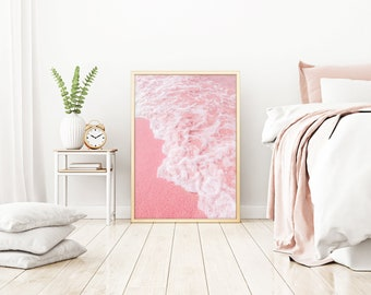 Beach Print, Pink Sand, Pastel Pink Print, Pink Wall Art, Palm Tree Print, Pink Print, Tropical Wall Art, Pink Photo, Pastel Beach,