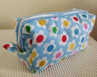 Large Plush Soft Retro Flower Cotton Blend Print Cosmetic Bag, Zip Bag, Make Up Bag, Accessory Bag, Wash Bag, Toiletry Bag, Pom Pom Trim