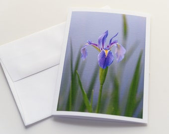 Purple Iris Flower Note Card; Floral Photography Note Card; Note Card Blank Inside; Note Card with Envelope; 5x7 All-Occasion Greeting Card