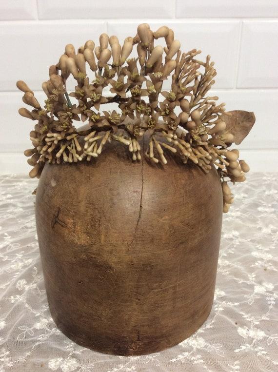 French Antique Wax Flower Tiara , Crown , Globe De