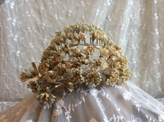 Late 1800s French Antique Wax Flower Tiara, Crown,