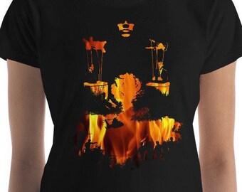 Women's Political Puppets (Flames) short sleeve t-shirt, Graphic T Shirt