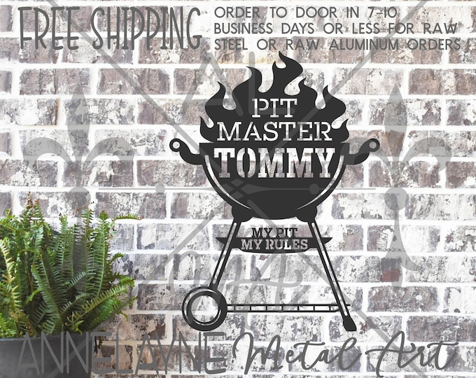 PIT MASTER with Flames and NAME Sign -300199NA- Personalized Metal Cutout, Plasma Cut Metal, Metal Cut Out, Metal Art, Outdoor Kitchen Sign