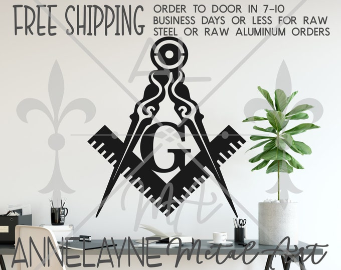Freemason Compass- 290049 - Metal Cutout, Plasma Cut Metal, Metal Cut Out, Metal Art, Door Hanger, Metal Sign, Kitchen Sign, Wall Sign