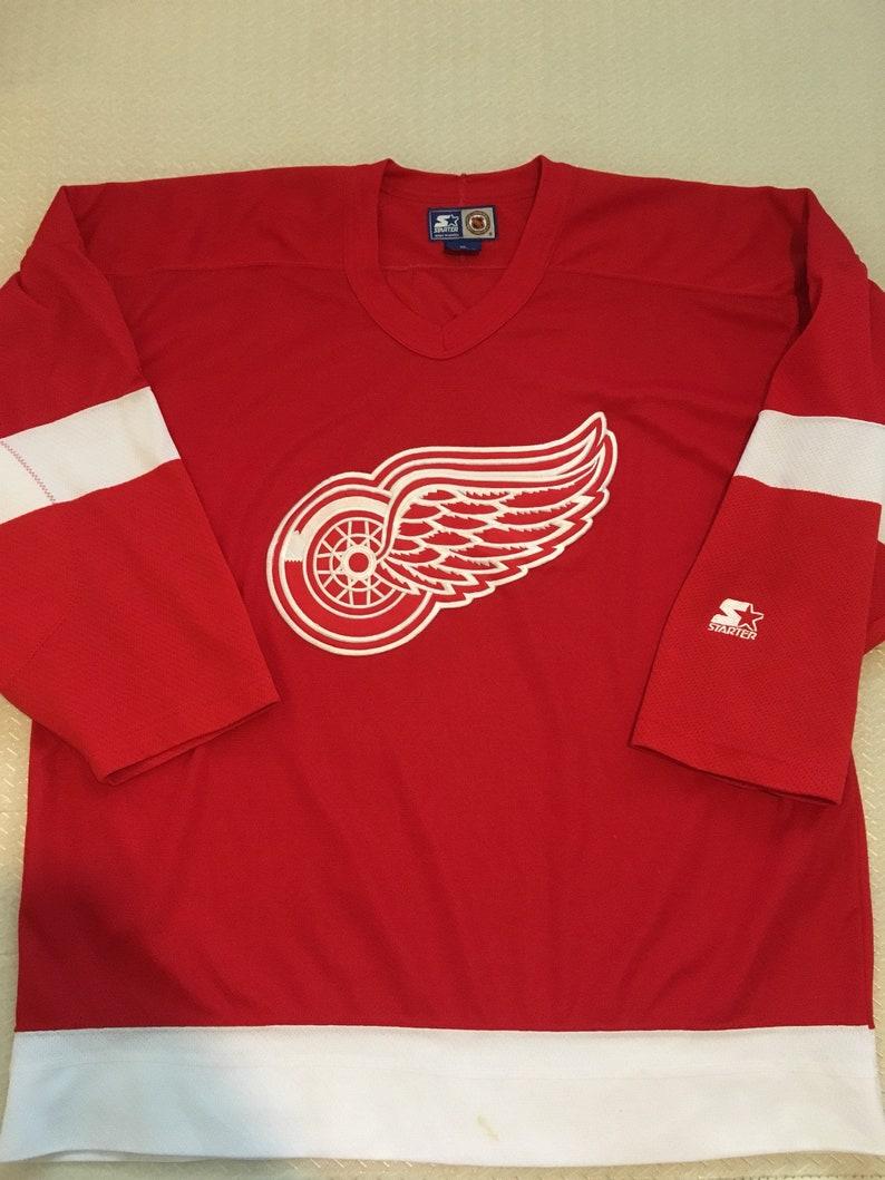 Vintage starter detroit red wings nhl hockey jersey size mens  3856d4d01