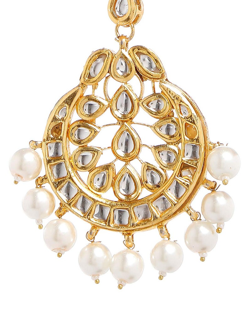 Ethnic Traditional Indian Exclusive Gold Tone Wedding Kundan White Pearl Maang Tikka Forehead Tikka Jewellery