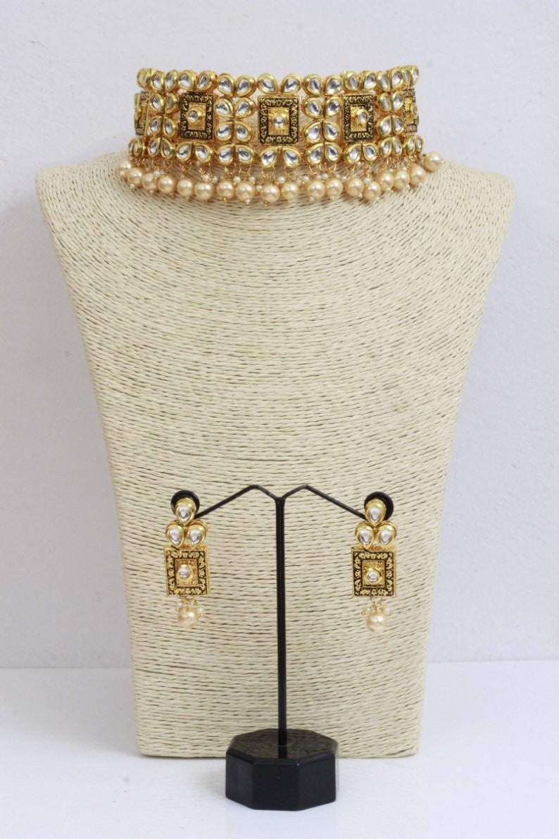 eb7ac12c92581 Indian Bollywood Fashion Traditional Party Wear Bridal Wedding Jewelry |  Ethnic Kundan Pearl Necklace with Earrings | Necklace Earrings
