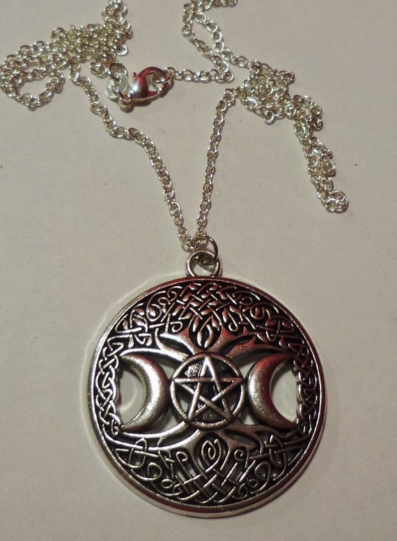 Triple Moon Pentacle Tree Of Life Pentacle Pendant With 925 Sterling Silver Chain