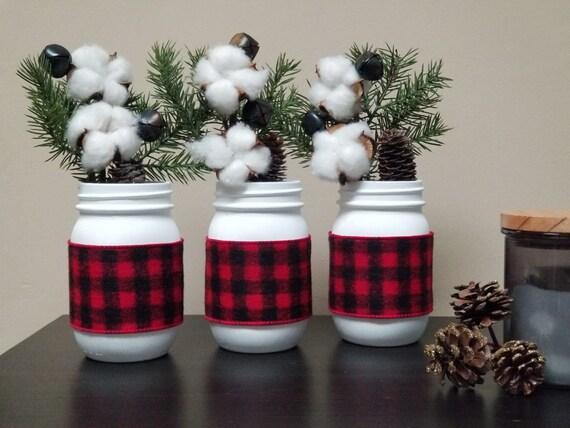 Buffalo Check Christmas Decor.Christmas Buffalo Check Mason Jar Set Painted Mason Jars Holiday Decor Christmas Decor Holiday Mason Jar Buffalo Plaid Christmas Decor