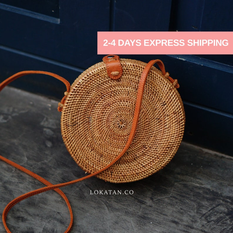 Round Brown Plain Bali Rattan Bag image 0