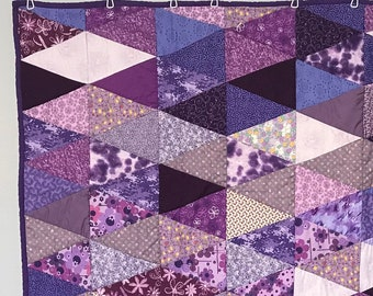 "Purple Triangle Quilt 64"" x 57"""