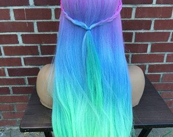 Mermaid Rainbow Pastel Ombre Wig