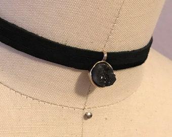 Handmade Long black  Leather choker/ Bracelet