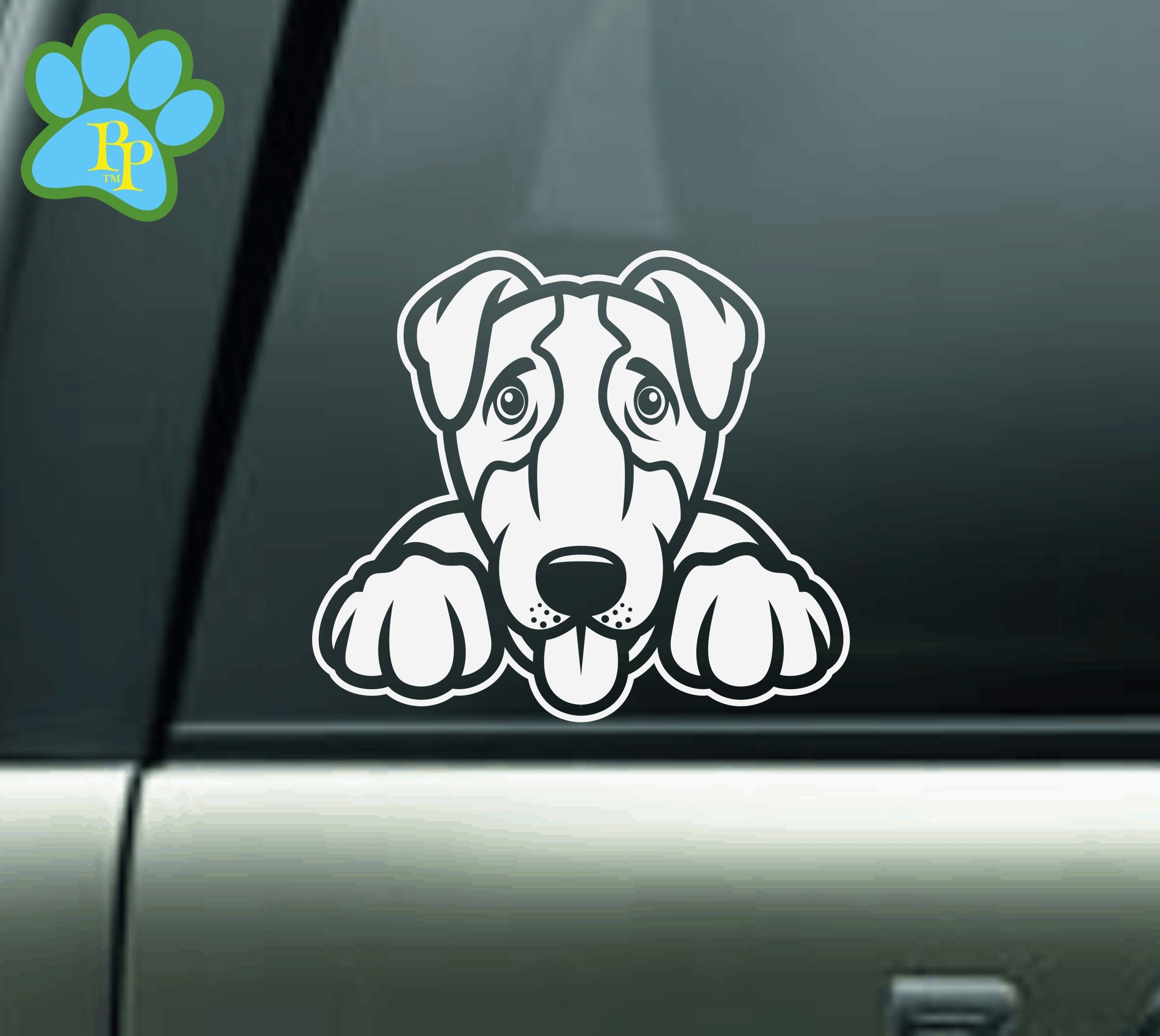 """Set of Two I Love My Jack Russell Dog 4/"""" Car Plastic Stickers Decals"""