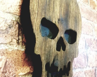 Skull Wall Hanging Plaque Halloween Party Decoration Death Mask Day Of The Dead Reclaimed