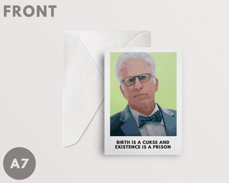 The Good Place Card A7 Birth Is A Curse Existence