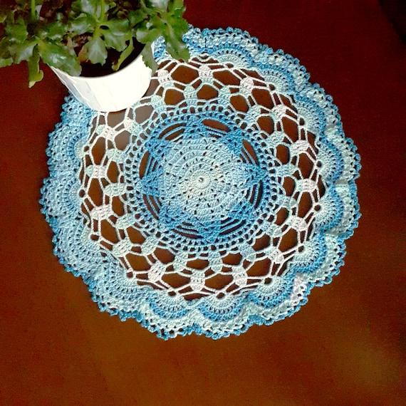 Blau Weiß Deckchen Häkeln Tisch Dekor Herzstück Blau Runde