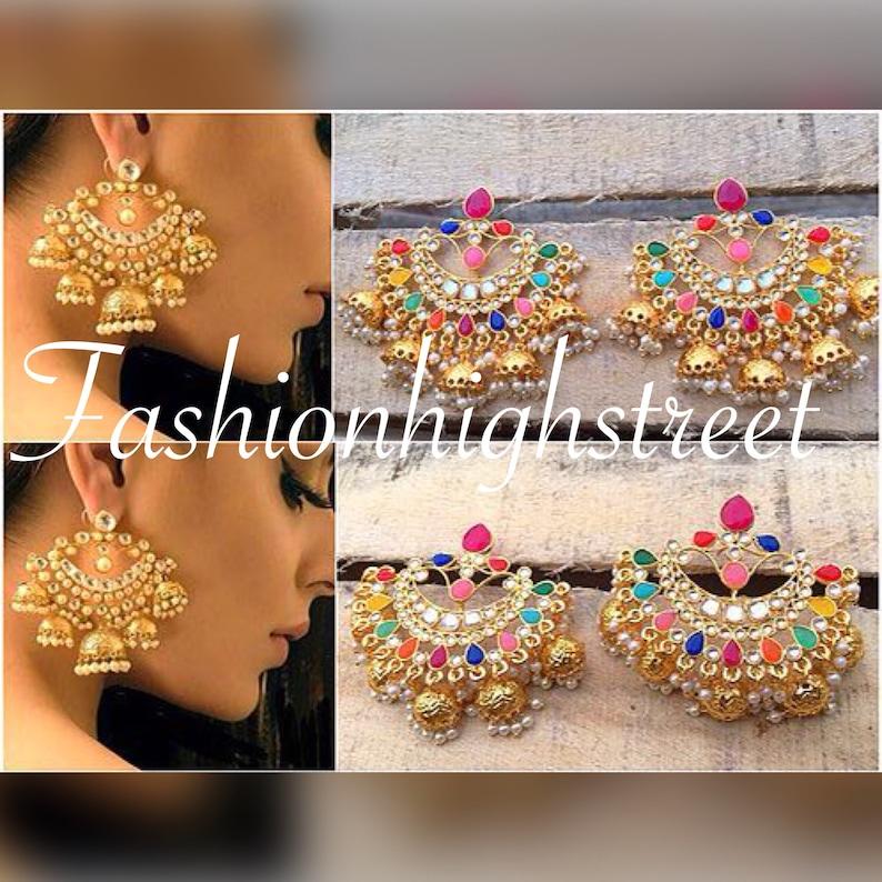 28847cd36 Indian Bollywood designer jhumkas earrings jhumki eardrops | Etsy