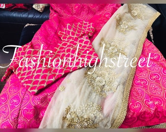 Indian brocade Silk fuschia pink and gold lengha ready stitched to UK size 12/14, USA size 8/10, & Europe size 38/40
