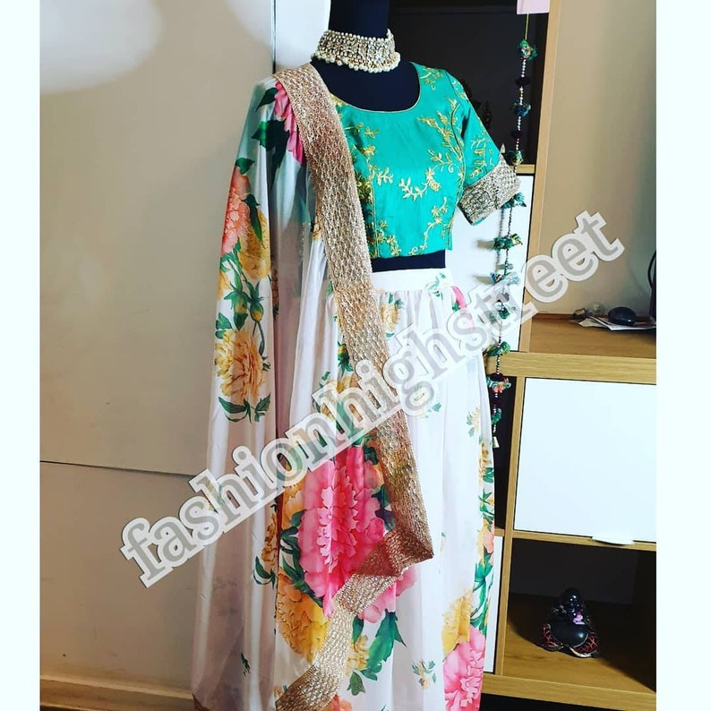 Indian bollywood Designer Floral lengha ready stitched to UK size 612 USA size 410 /& Europe size 3640