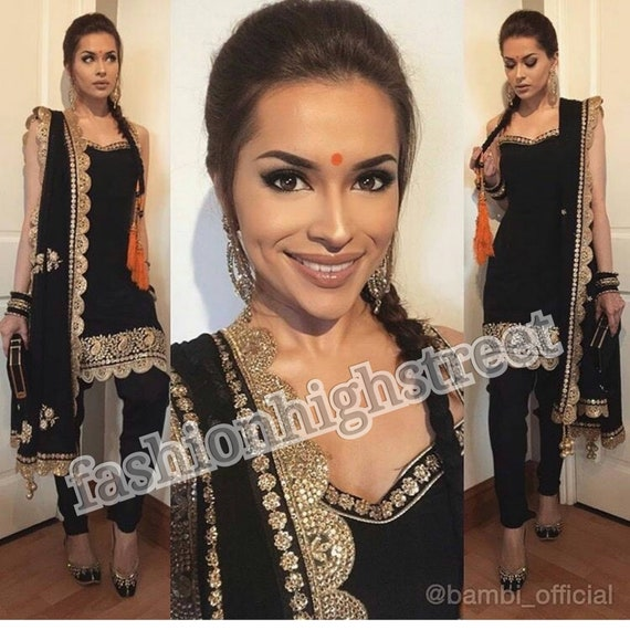 Ready stitched Bambi Bains inspired Indian bollywood black Satin Silk punjabi suit with heavy embroidered duppatta or scarf