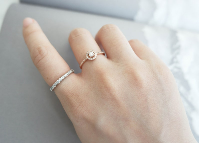 Solid 14k Pink Gold Engagement Ring Real Diamond Ring Solitaire Ring Engagement Bands Wedding Ring Wedding Bands Diamond Ring Classic Ring