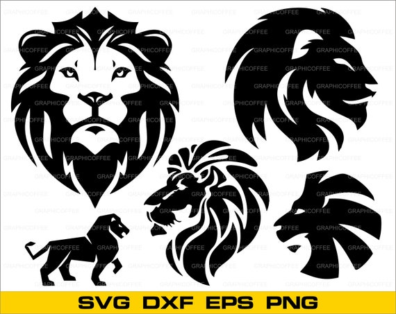 Lion head SVG bundle clipart cut files for silhouette lion ...