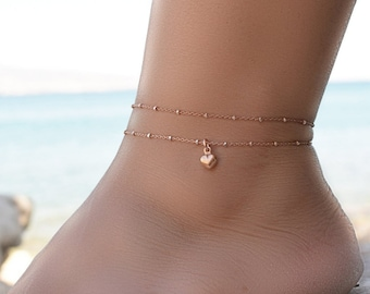 Foot Chain Anklets Thin Gold Tone Love Heart Ankle Bracelet Double Layer LC