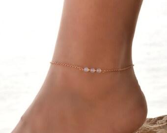 Rose Gold Anklet Crystal anklet Cz Anklet Gold Ankle Bracelet Bridesmaid Anklet 0037BA Stone Anklet 14k Gold Filled Anklet