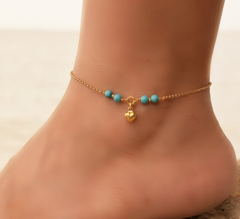 246dcbcec0 Turquoise Bead Anklet Dainty Gold Heart Anklet Gold Anklets | Etsy