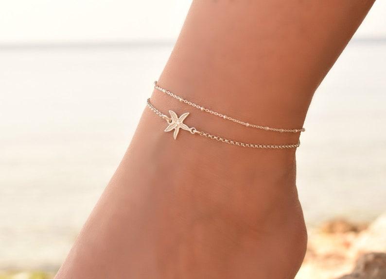 Anklet Delicate Anklet bracelet Anklet Set Dainty Anklet Silver Starfish Anklet Sterling Silver Anklet for Women Ankle Chain Charm