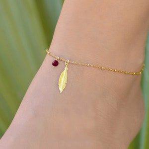 Boho Anklets for Women Body Jewelry Gold Anklets for Women Gold Ankle Bracelet Set Anklet Dainty Ruby Stone Anklet