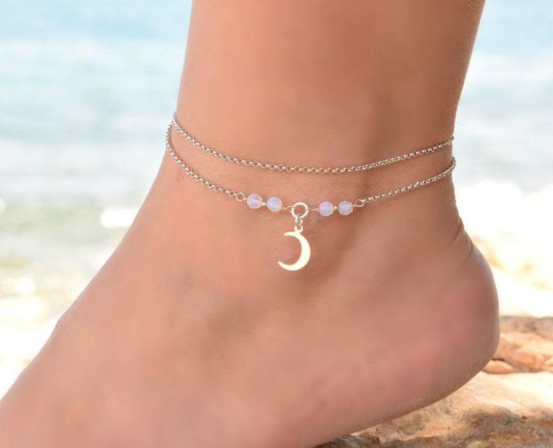 2608063b97f Crescent Moon Anklet Bracelet Anklet Ankle Bracelets for